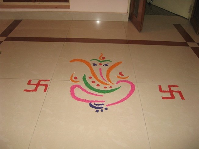 Latest Ganesh Rangoli Designs, Ideas and Pictures For 2017