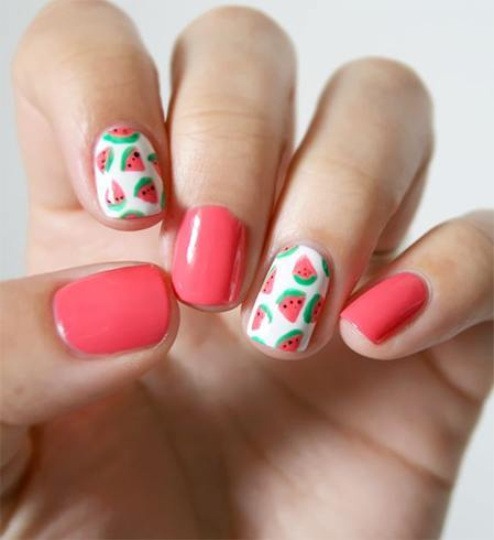 130 beautiful nail art designs just for you watermelon accented nail designs prinsesfo Images