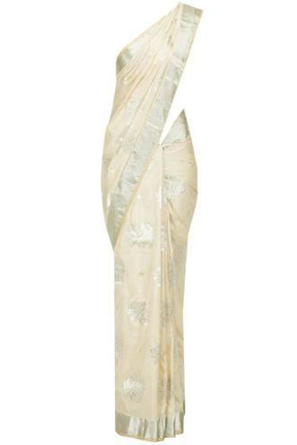 white christian wedding saree