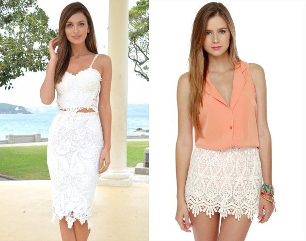 Best white lace skirt