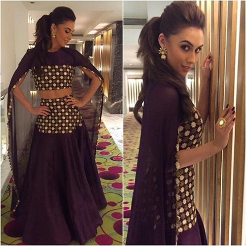 Lauren Gottilieb purple coloured SVA Couture outfit