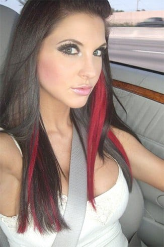 Black and red hairstyle