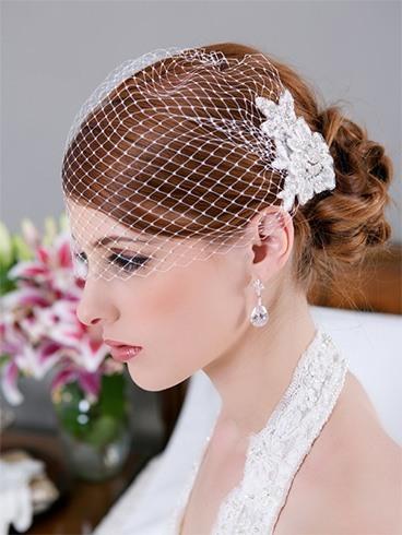 Bridal lace birdcage veil