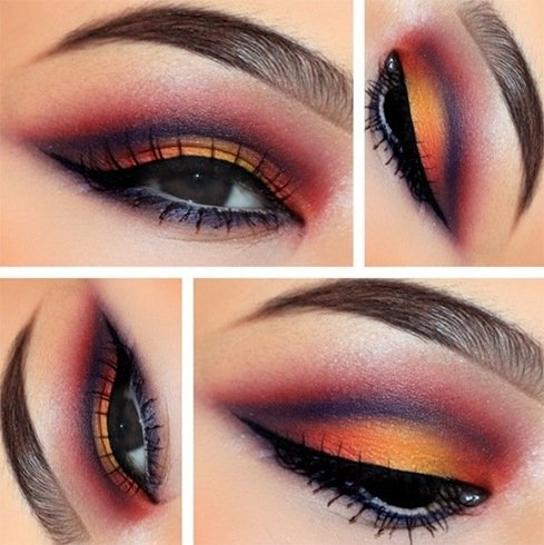Brown eyes orange eyeshadow