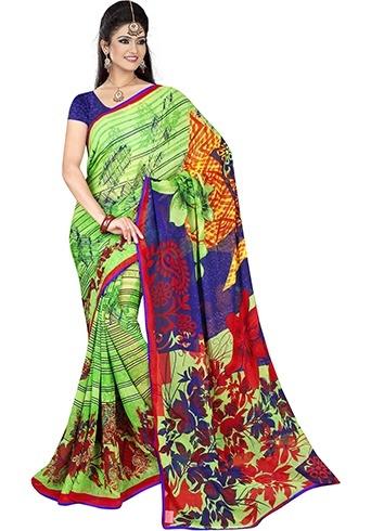 Chic floral print sarees