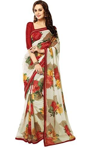 Chiffon floral sarees