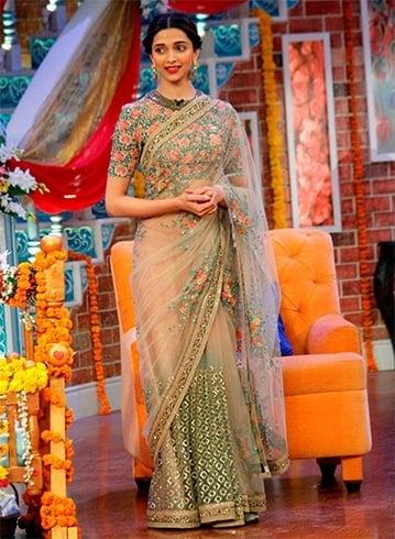 Deepika in floral designer sarees