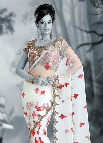 Embroidrey floral saree