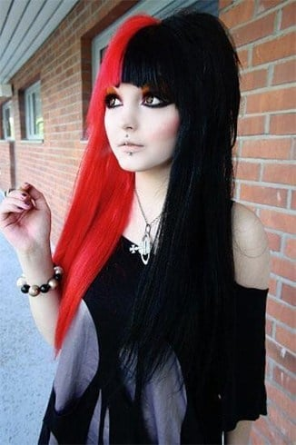 Half red and black hair