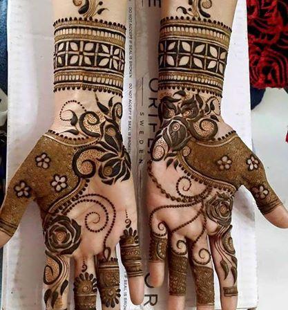 karva chauth mehendi two hands