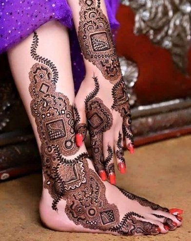 karva chauth mehndi designs for hands and legs