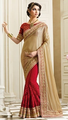 3d3587dc22ab13 Maroon And Gold Saree Wonder. Karva Chauth sarees