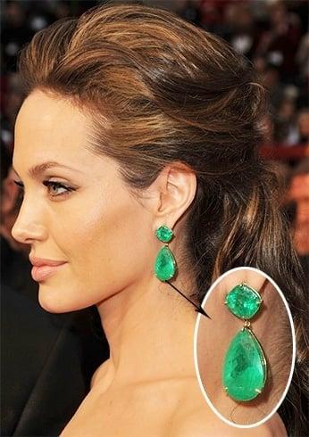 Angelina Jolie's emerald earrings