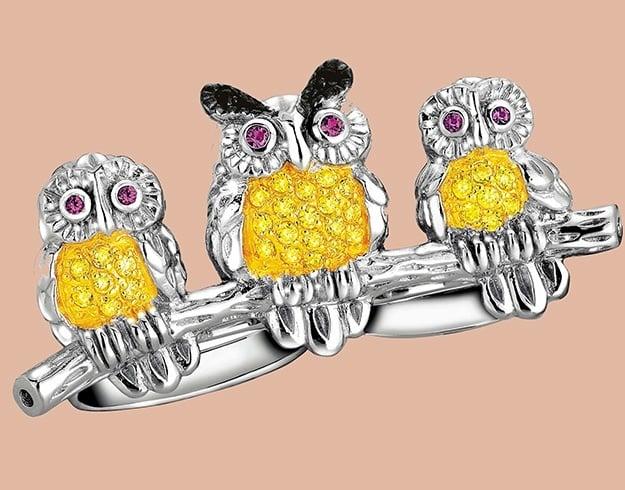 Multi finger Owl Ring in Yellow