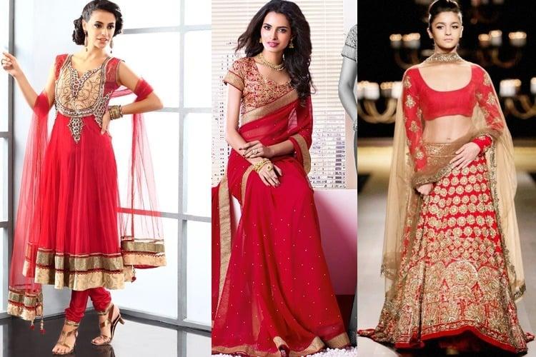 Vestidos de color rojo para el día 4 de Navratri