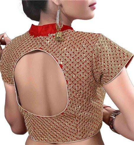 Round Cut Out Neck Blouse