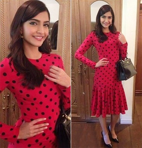 Sonam in Polka Dotted Dress