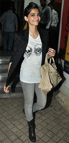 Sonam Kapoor in grey denims