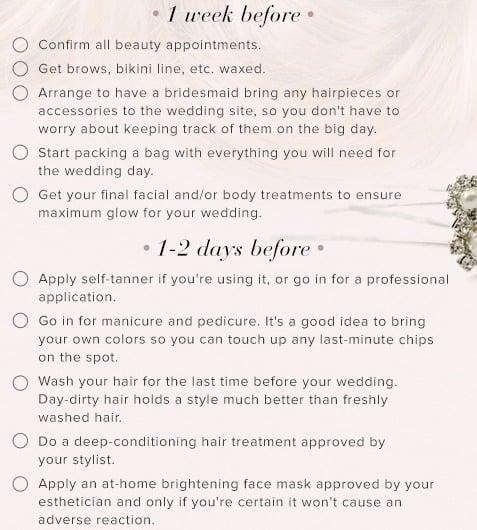 Wedding beauty checklist days before