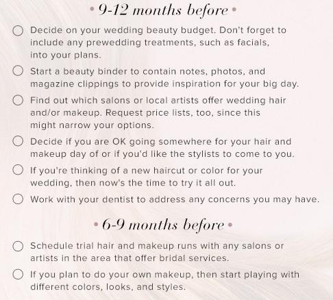 Wedding beauty checklist
