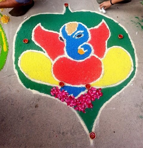 Beautiful Ganesha Rangoli Design