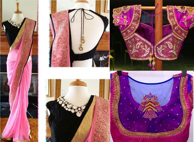 Blouse Neck Patterns For Silk Saree