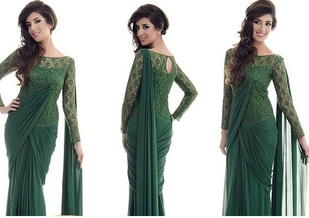 Dark green gown style saree