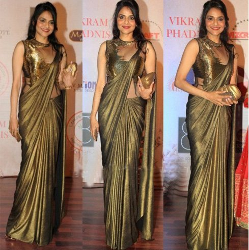 Designer saree gown by Gaurav Gupta