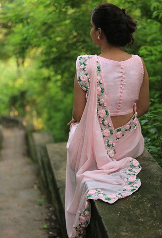 Floral Applique Hemline saree