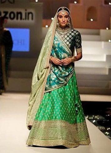 green silk lehanga