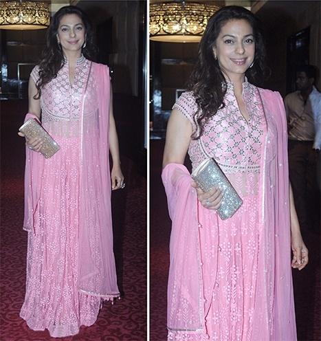 Juhi Chawla blush pink outfit by Anita Dongre