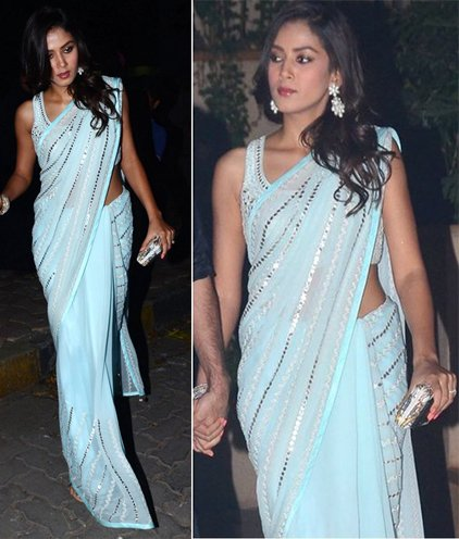 Mira Rajput in icy blue saree by Anita Dongre