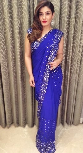 Raveena Tandon blue saree designed by Manish Malhotra