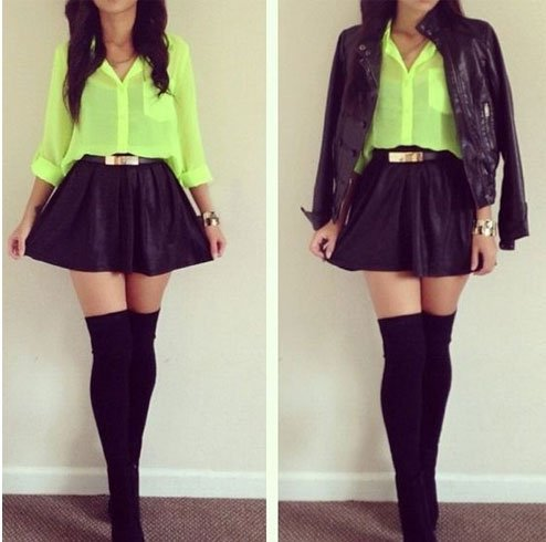 Skater Skirt With Knee High Socks For Women