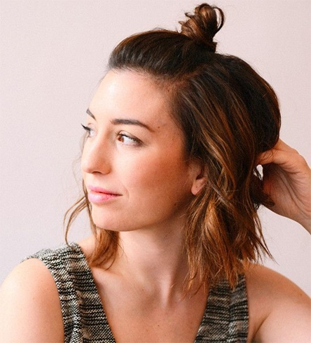 Super The Easy Top Knot Bun For A Cool Look Lazy Girl Guide Short Hairstyles Gunalazisus