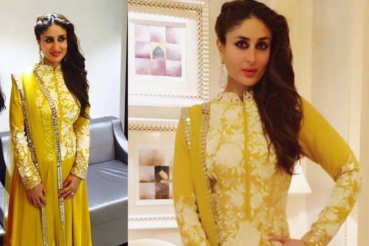 Kareena Kapoor in yellow anarakli