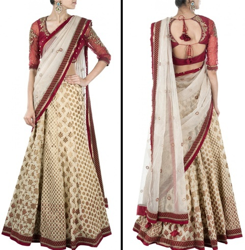 Lehenga style saree for wedding