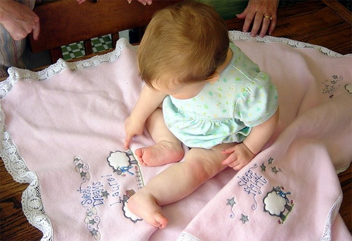 Machine embroidery baby blankets