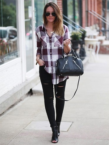 Plaid shirt and ripped leggings