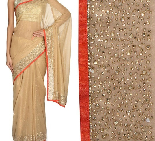 Plain Saree with kundans