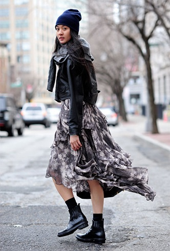 Printed dress with a black jacket