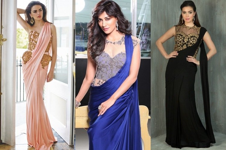 Saree Gown Designs Are A Fusion Of Gowns And Traditional Sarees