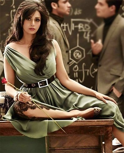 Sridevi green cocktail dress