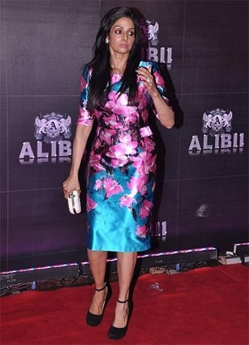 Sridevi in floral cocktail skirt