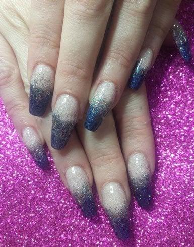 Ballerina shaped long acrylic nails