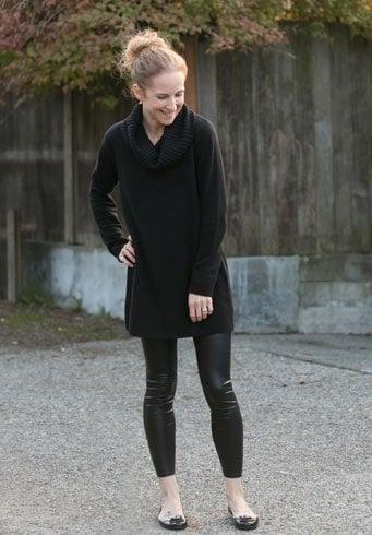 Black Sweater With Black Leggings