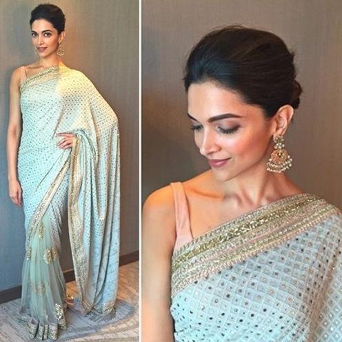 Deepika Padukone In Mint Gree Saree