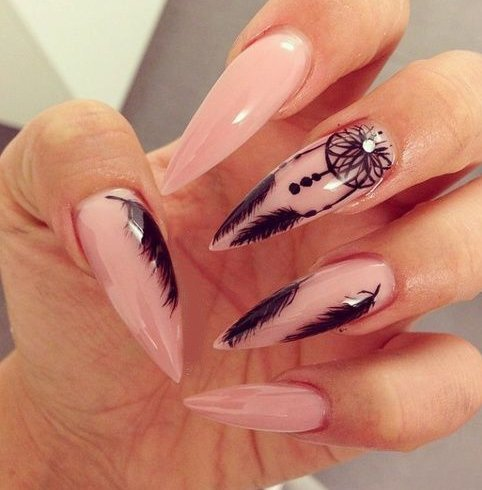 Long stiletto nail designs