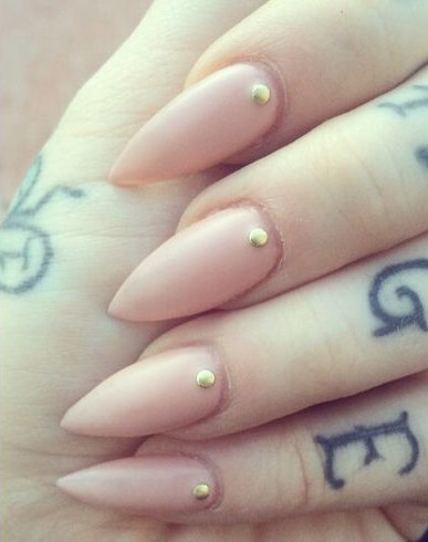 Nude Stiletto Nails with gold gems