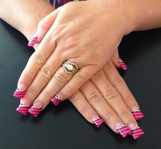 Pink And Black Nail Paint